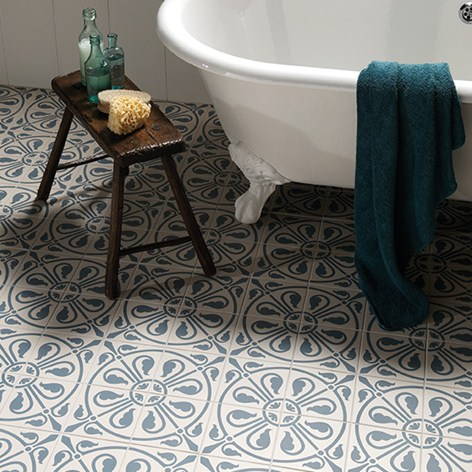 Blue Patterned Bathroom Tiles Part - 24: Phoenician