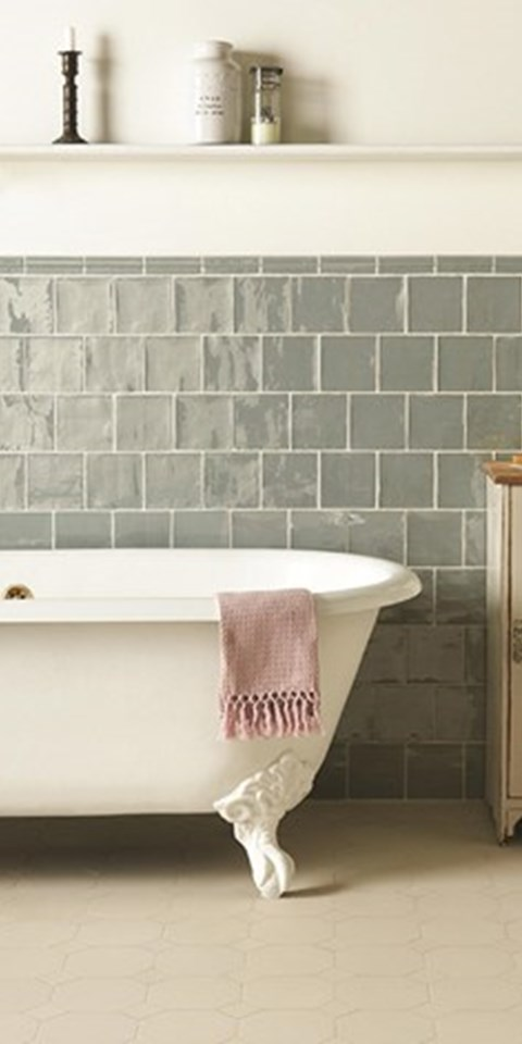 York Pattern. with Winchester Metropolitan Lazul wall tiles