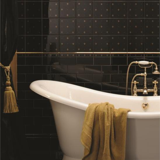 Fleur de Lis Gold on Jet Black (2 Tile Set)