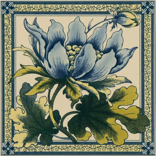 Peony Single Tile on Colonial White