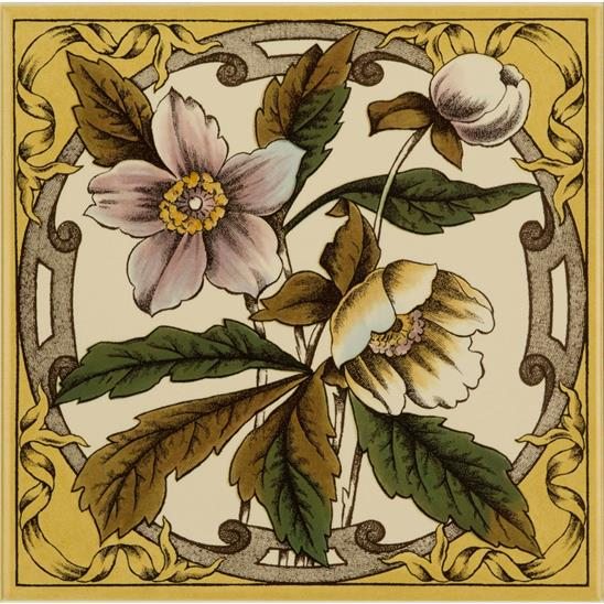 Windflower Single Tile on Colonial White