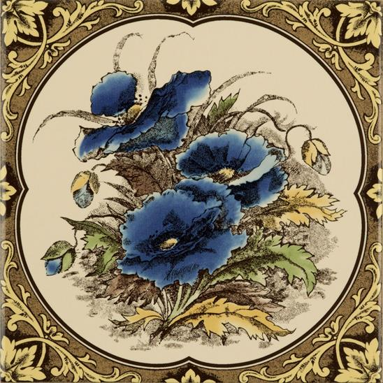 Blue Poppies Single Tile on Colonial White